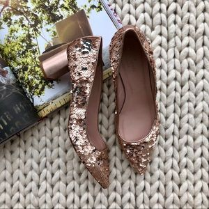 Kate Spade Rose Gold/Silver Mauna Sequin Heels 10M
